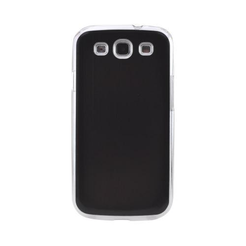 Samsung Galaxy S3 Hard Back Clear Case w/ Aluminum - Black