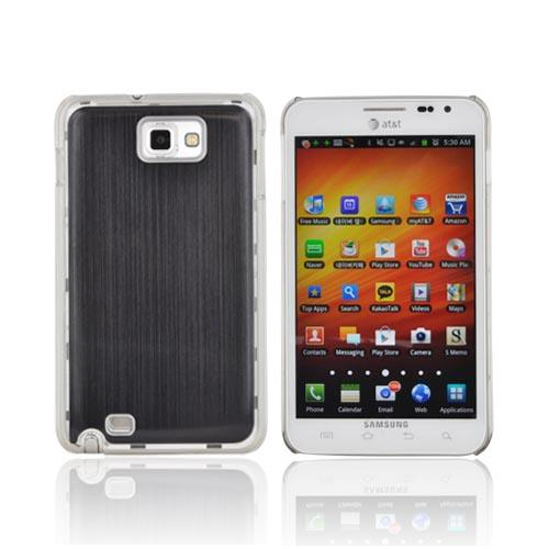 Samsung Galaxy Note Hard Back Clear Case w/ Aluminum - Black