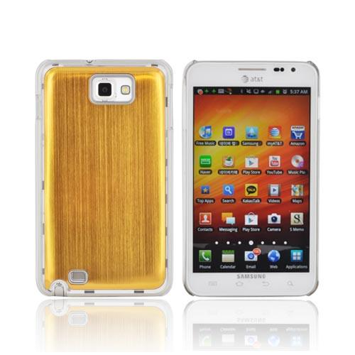 Samsung Galaxy Note Hard Back Clear Case w/ Aluminum - Gold