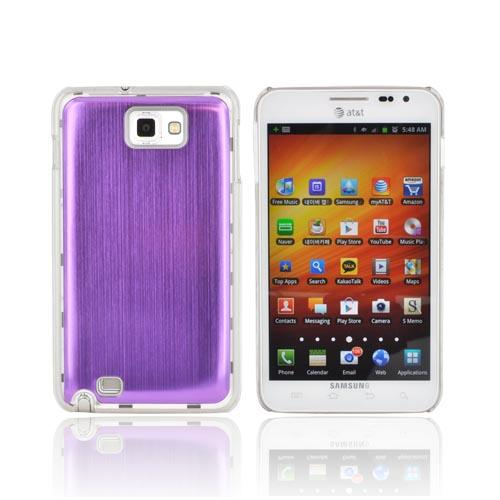 Samsung Galaxy Note Hard Back Clear Case w/ Aluminum - Purple