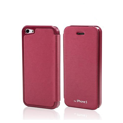 Burgundy Exclusive CellLine Diary Flip Cover Hard Case w/ ID Slot & Satin Cover for Apple iPhone 5/5S