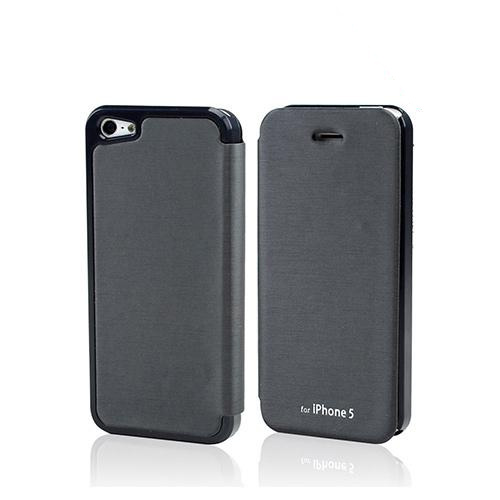 Dark Gray Exclusive CellLine Diary Flip Cover Hard Case w/ ID Slot & Satin Cover for Apple iPhone 5/5S