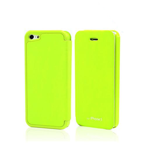 Lime Green Exclusive CellLine Diary Flip Cover Hard Case w/ ID Slot & Satin Cover for Apple iPhone 5/5S