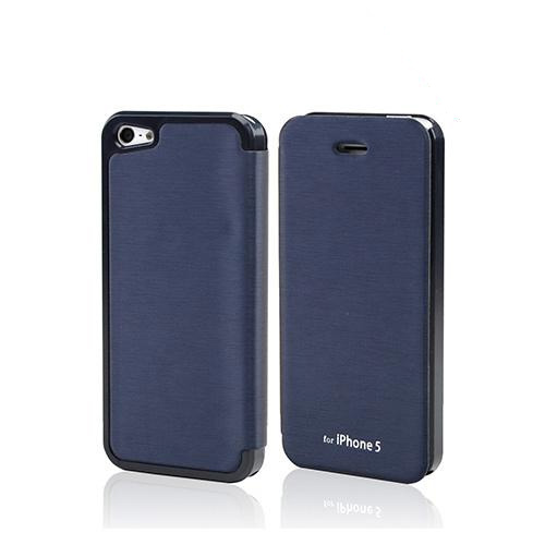 Navy Blue Exclusive CellLine Diary Flip Cover Hard Case w/ ID Slot & Satin Cover for Apple iPhone 5/5S