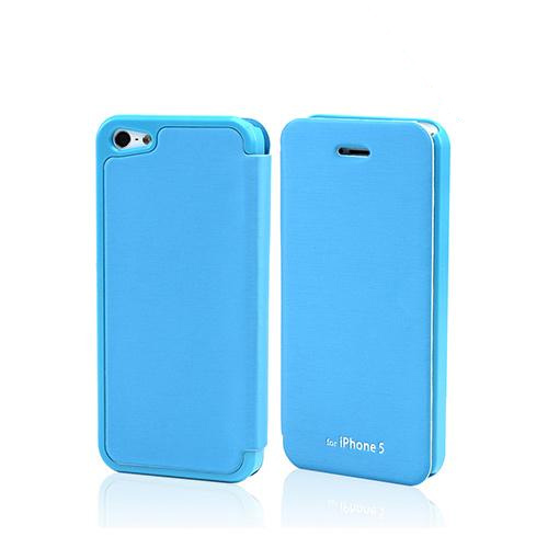 Sky Blue Exclusive CellLine Diary Flip Cover Hard Case w/ ID Slot & Satin Cover for Apple iPhone 5/5S