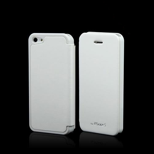White Exclusive CellLine Diary Flip Cover Hard Case w/ ID Slot & Satin Cover for Apple iPhone 5/5S