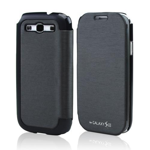 Dark Gray Exclusive CellLine Diary Flip Cover Hard Case w/ ID Slot & Satin Cover for Samsung Galaxy S3