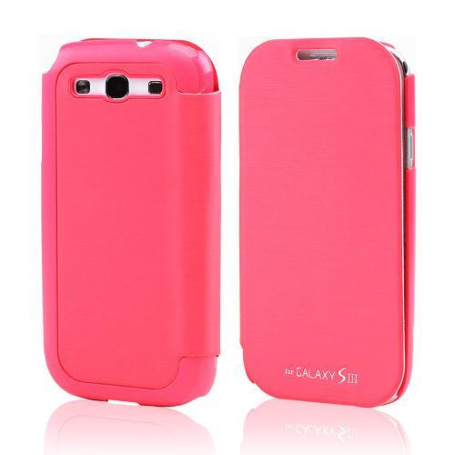 Hot Pink Melon Exclusive CellLine Diary Flip Cover Hard Case w/ ID Slot & Satin Cover for Samsung Galaxy S3