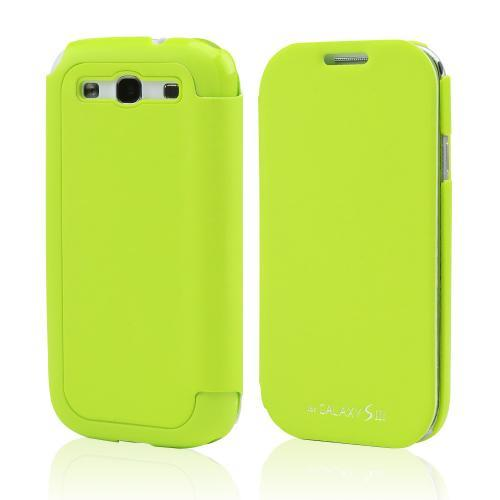 Lime Green Exclusive CellLine Diary Flip Cover Hard Case w/ ID Slot & Satin Cover for Samsung Galaxy S3