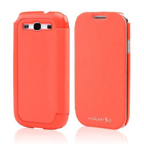 Orange Exclusive CellLine Diary Flip Cover Hard Case w/ ID Slot & Satin Cover for Samsung Galaxy S3
