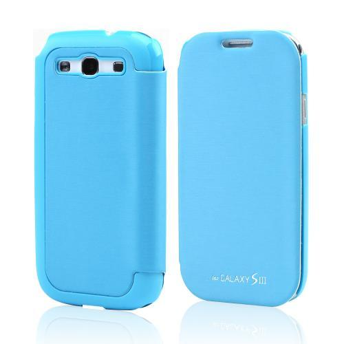 Sky Blue Exclusive CellLine Diary Flip Cover Hard Case w/ ID Slot & Satin Cover for Samsung Galaxy S3