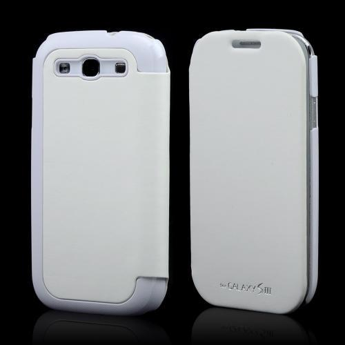White Exclusive CellLine Diary Flip Cover Hard Case w/ ID Slot & Satin Cover for Samsung Galaxy S3