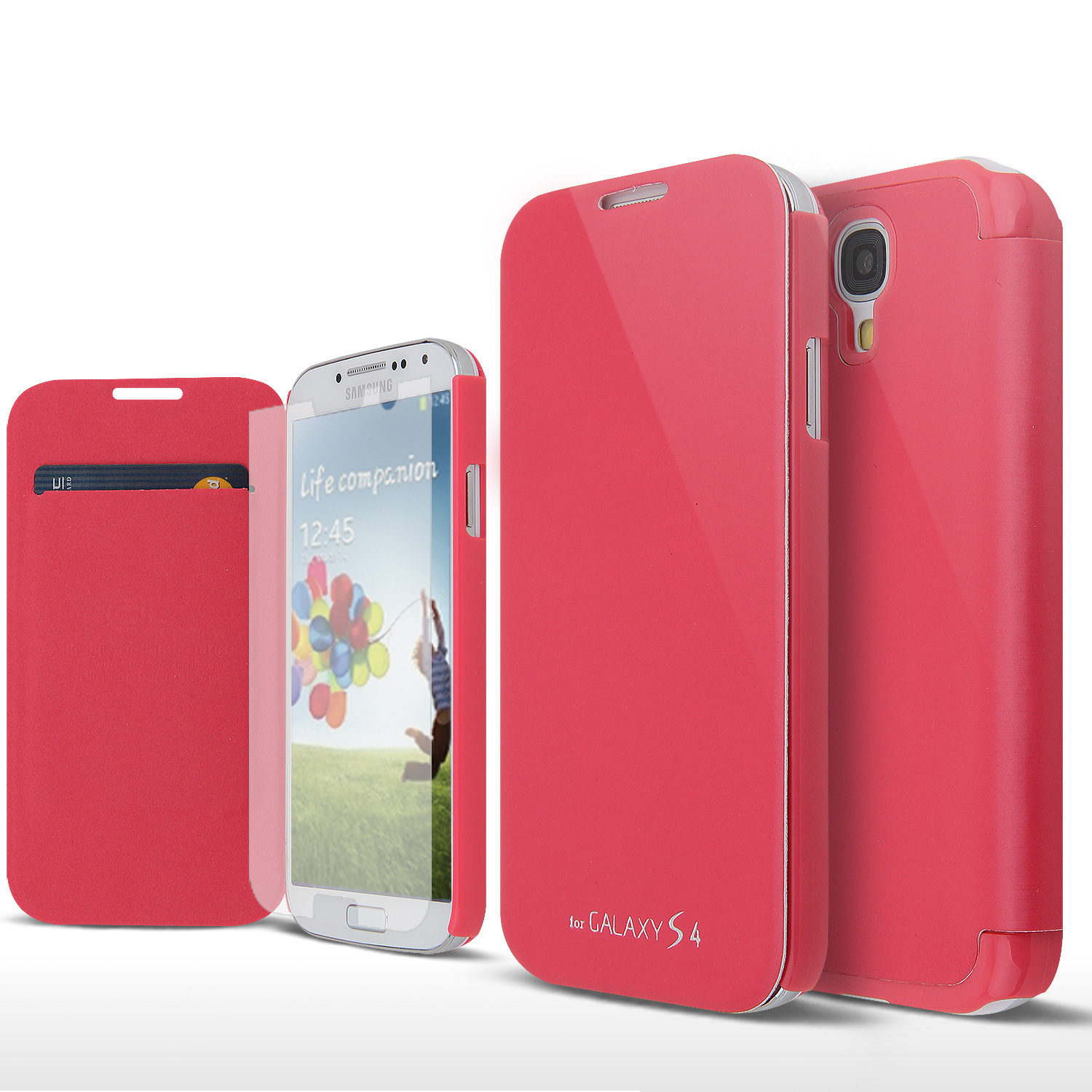 Pink Exclusive AccessoryGeeks Flip Cover Case w/ ID Slot, Satin Cover & Free Screen Protector for Samsung Galaxy S4