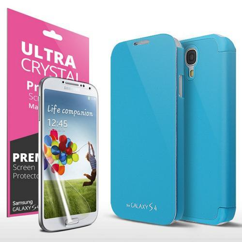 Sky Blue Exclusive CellLine Flip Cover Case w/ ID Slot, Satin Cover & Free Screen Protector for Samsung Galaxy S4