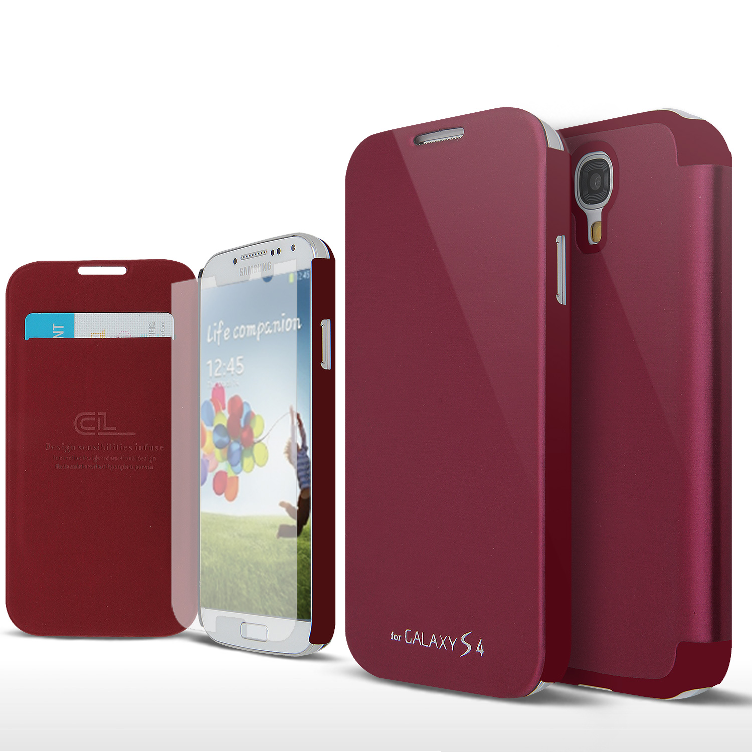 Wine Red Exclusive CellLine Diary Flip Cover Hard Case w/ ID Slot, Satin Cover, & Screen Protector for Samsung Galaxy S4