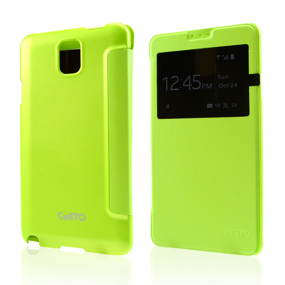 Lime Green CellLine Windowed Flip Cover w/ Free Screen Protector for Samsung Galaxy Note 3