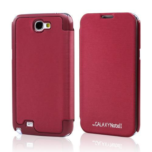 Burgundy Exclusive CellLine Diary Flip Cover Hard Case w/ ID Slot & Satin Cover for Samsung Galaxy Note 2