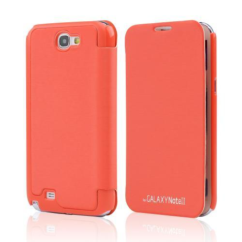 Orange Exclusive CellLine Diary Flip Cover Hard Case w/ ID Slot & Satin Cover for Samsung Galaxy Note 2