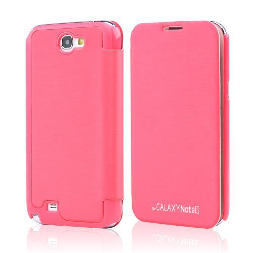 Hot Pink Melon Exclusive CellLine Diary Flip Cover Hard Case w/ ID Slot & Satin Cover for Samsung Galaxy Note 2