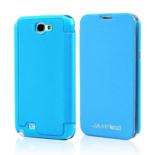 Sky Blue Exclusive CellLine Diary Flip Cover Hard Case w/ ID Slot & Satin Cover for Samsung Galaxy Note 2
