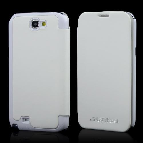 White Exclusive CellLine Diary Flip Cover Hard Case w/ ID Slot & Satin Cover for Samsung Galaxy Note 2