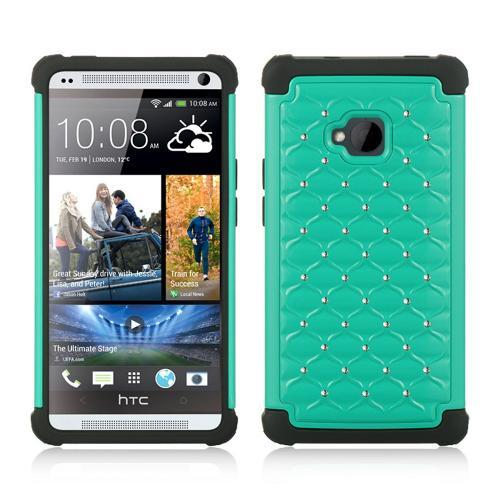 Aqua Hard Cover w/ Bling Over Black Silicone for HTC One