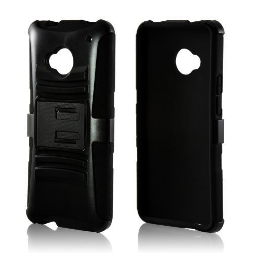 Black Hard Case Over Silicone w/ Kickstand For HTC One