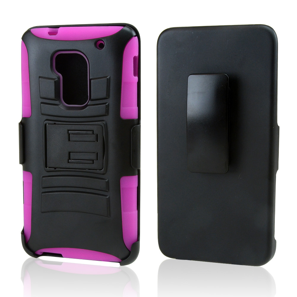 Black Hard Case w/ Kickstand on Hot Pink Silicone Skin Case w/ Holster for HTC One Max