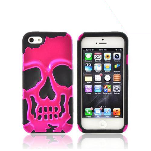 Apple iPhone 5/5S Hard Case Over Silicone - Hot Pink Skull on Black