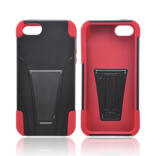 Apple iPhone 5/5S Hard Case Over Silicone w/ Stand - Black/ Red