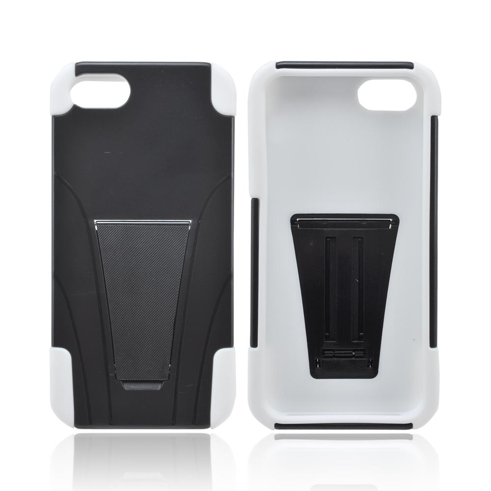 Apple iPhone 5/5S Hard Case Over Silicone w/ Stand - Black/ White
