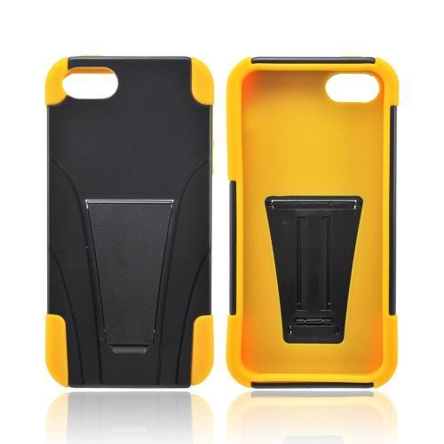 Apple iPhone 5/5S Hard Case Over Silicone w/ Stand - Black/ Yellow