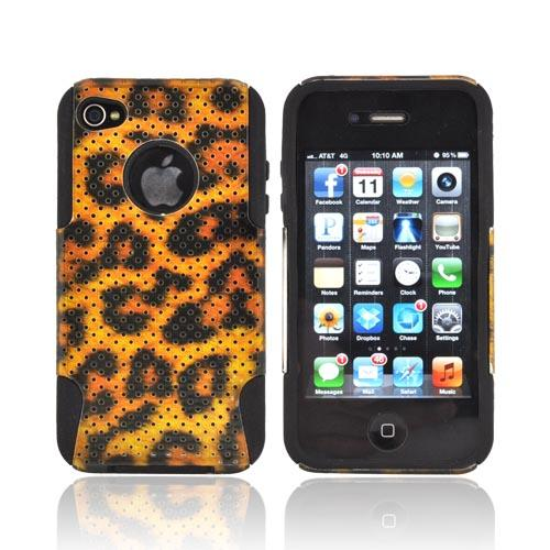 AT&T/ Verizon Apple iPhone 4, iPhone 4S Hard Case Over Silicone - Black/ Gold Leopard Mesh