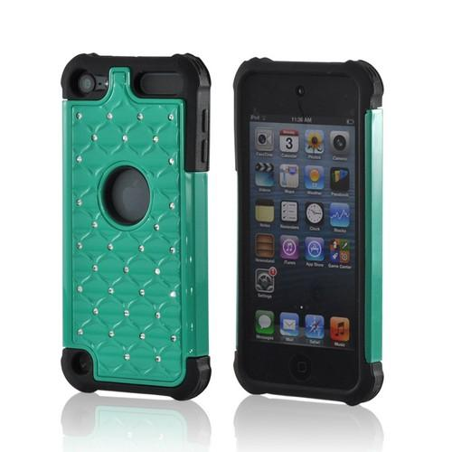 Turquoise/ Black w/ Silver Gems Hard Cover Over Silicone Case w/ Bling for Apple iPod Touch 5
