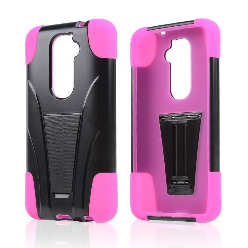 Black Hard Case w/ Kickstand on Hot Pink Silicone Skin Case for LG G2 (AT&T, T-Mobile, & Sprint)