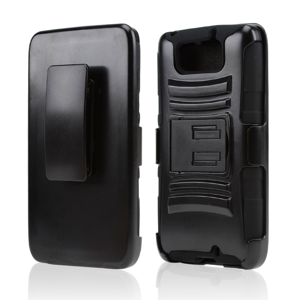 Black Hard Case w/ Kickstand on Black Silicone Skin Case w/ Holster for Motorola Droid Ultra/ Droid MAXX