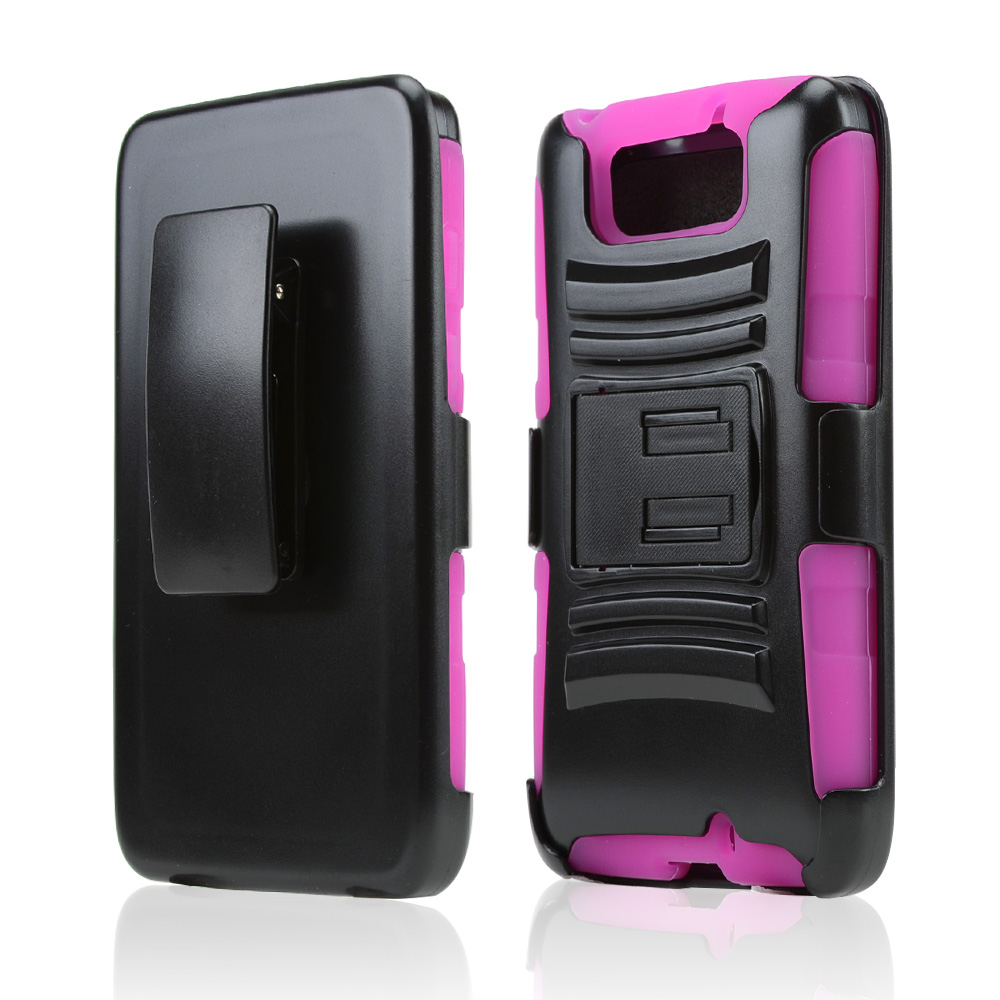 Black Hard Case w/ Kickstand on Hot Pink Silicone Skin Case w/ Holster for Motorola Droid Ultra/ Droid MAXX