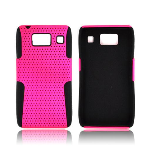Motorola Droid RAZR HD Hard Back Case Cover on Silicone - Hot Pink Mesh on Black