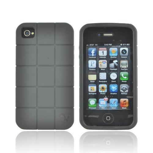 Premium Fusion Series AT&T/ Verizon Apple iPhone 4, iPhone 4S Turtle Shell Hard Cover Over Crystal Silicone Case - Black