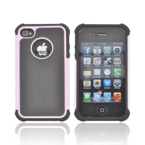 AT&T/ Verizon Apple iPhone 4, iPhone 4S Textured Hybrid Hard Cover Over Silicone Case - Baby Pink/ Black