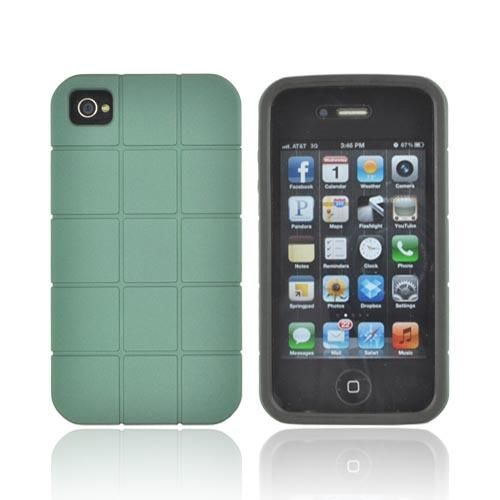 Premium Fusion Series AT&T/ Verizon Apple iPhone 4, iPhone 4S Turtle Shell Hard Cover Over Crystal Silicone Case - Forrest Green/ Black