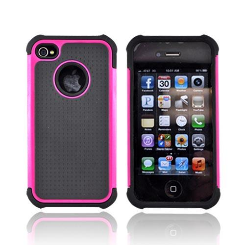 AT&T/ Verizon iPhone 4, iPhone 4 Hard Case Over Silicone Armor Case - Magenta/ Black