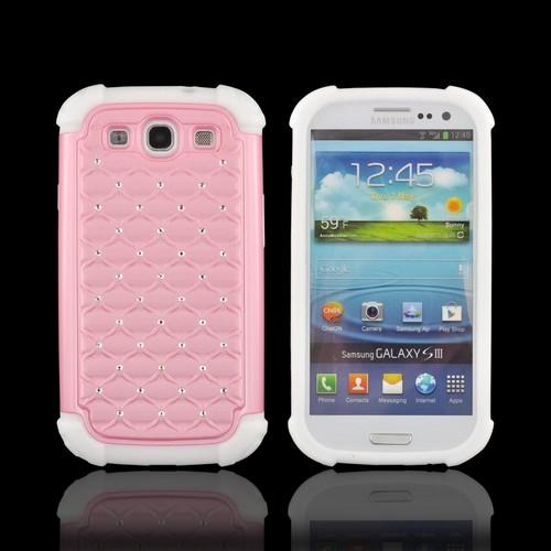Samsung Galaxy S3 Hard Cover Over Silicone Case w/ Bling - White/ Pink w/ Silver Gems