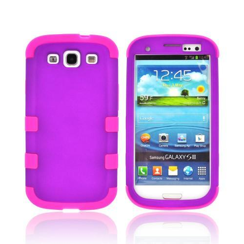 Samsung Galaxy S3 Rubberized Hard Case Over Silicone Case - Purple/ Hot Pink