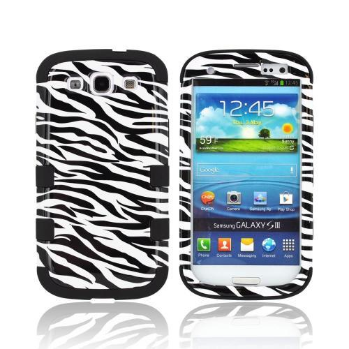 Samsung Galaxy S3 Hard Case Over Silicone Case - Black/ White Zebra