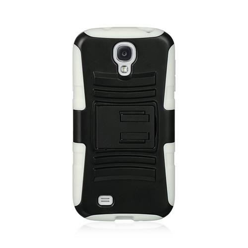 Black Hard Shell w/ Kickstand Over White Silicone Case for  Samsung Galaxy S4