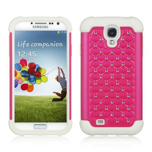 Hot Pink Hard Cover w/ Bling Over White Silicone for Samsung Galaxy S4