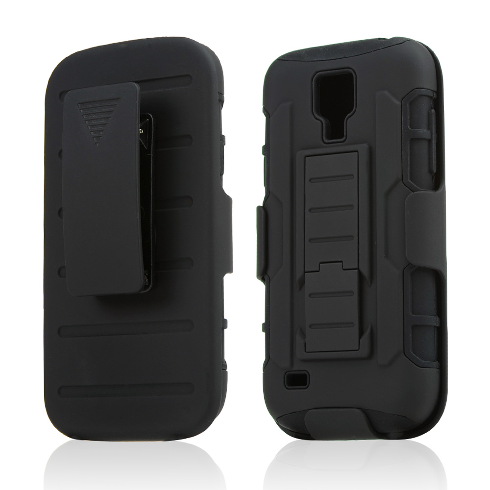 Black Rubberized Hard Case w/ Kickstand on Black Silicone Skin Case w/ Holster for Samsung Galaxy S4 Mini