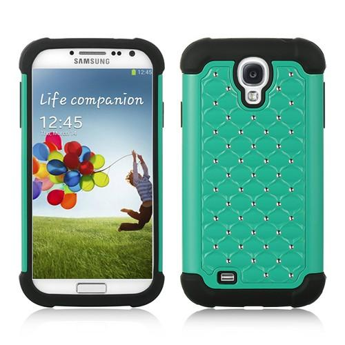 Turquoise Hard Cover w/ Bling Over Black Silicone for Samsung Galaxy S4