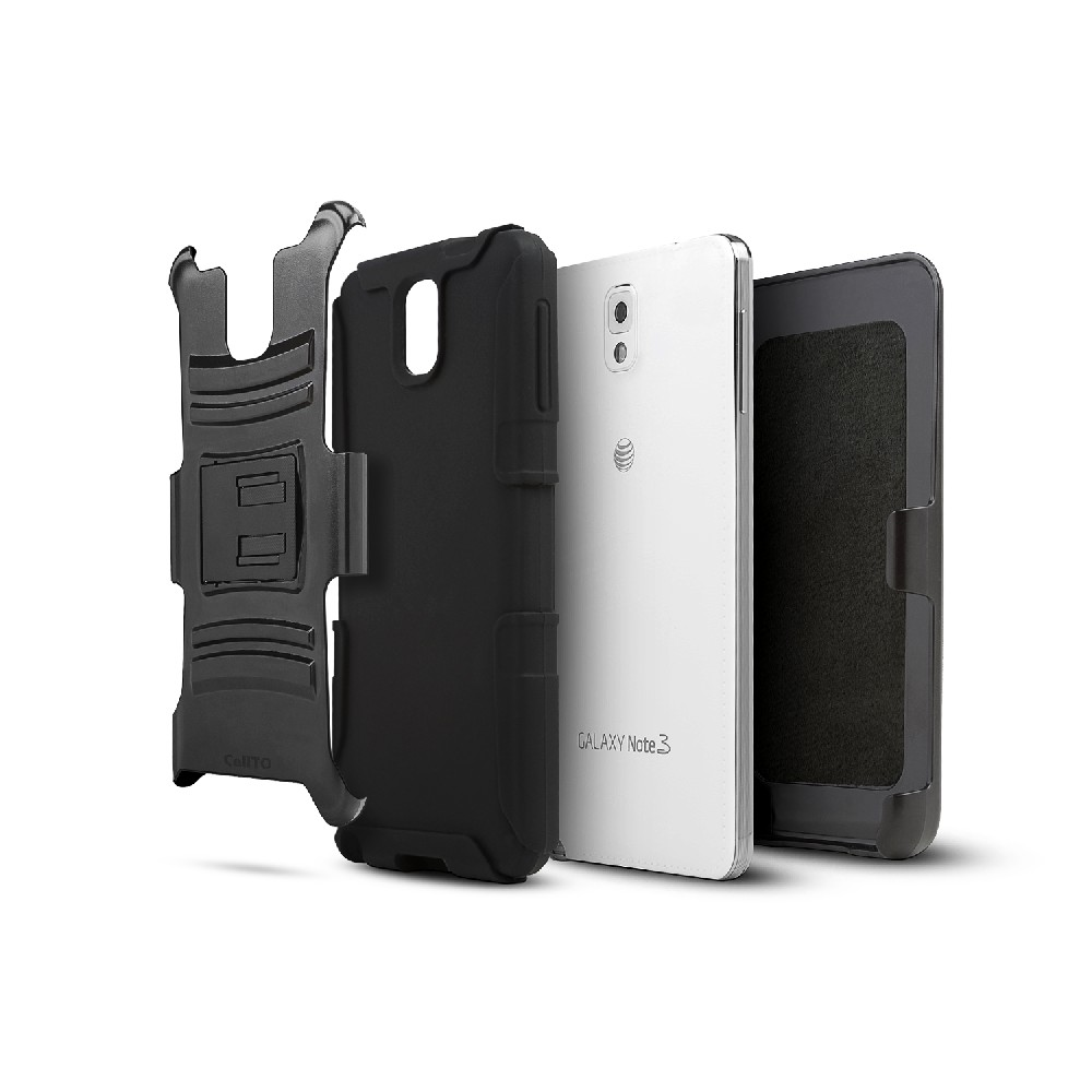 Black Hard Case w/ Kickstand on Black Silicone Skin Case w/ Holster for Samsung Galaxy Note 3